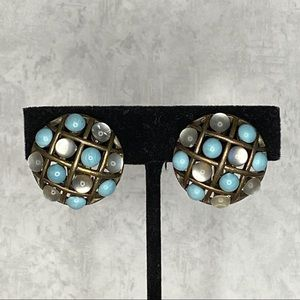 Turquoise & Moonstone Circles Clip On Earrings